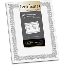 SOU CTP1W Southworth Silver Foil Enhanced Fleur Certificates SOUCTP1W