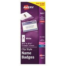 AVE 74651 Avery Top-Loading Clip Style Name Badges AVE74651