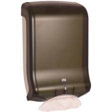 "Tork Quickview C-Fold/Multifold Towel Dispenser - C Fold, Multifold Dispenser - 18"" (457.20 mm) Height x 11.80"" (299.72 mm) Width x 6.30"" (160.02 mm) Depth - Plastic - Smoke - Translucent, Impact Resistant"