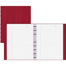 "Rediform MiracleBind Hard Cover Notebook - 75 Sheets - Twin Wirebound - Ruled Blue Margin - 7 1/4"" x 9 1/4"" - White Paper - Red Cover - Hard Cover, Micro Perforated, Telephone & Address Pages, Index Sheet, Repositionable, Self-adhesive Tab, Storage Pocket, Micro Perforated, Punched - Recycled - 1Each"