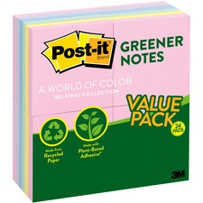 Post-it Greener Notes Value Pack, 3 in x 3 in, Helsinki Color Collection