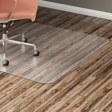 "Lorell Hard Floor Rectangular Chairmat - Tile Floor, Vinyl Floor, Hardwood Floor - 48"" (1219.20 mm) Length x 36"" (914.40 mm) Width x 60 mil (1.52 mm) Thickness - Rectangle - Vinyl - Clear"