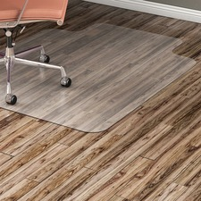 "Lorell Nonstudded Hard Floor Wide Lip Chairmat - Tile Floor, Vinyl Floor, Hardwood Floor - 53"" (1346.20 mm) Length x 45"" (1143 mm) Width x 60 mil (1.52 mm) Thickness - Lip Size 12"" (304.80 mm) Length x 25"" (635 mm) Width - Vinyl - Clear"