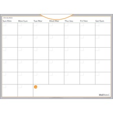 "At-A-Glance Wall Calendar - Monthly - 18"" x 24"" - Wall Mountable - White - Reminder Section, Erasable"