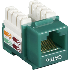 Black Box CAT5e Value Line Keystone Jack, Green, 5-Pack