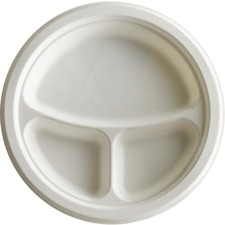 Eco-Products 10 inch 3-Compartment Sugarcane Plate