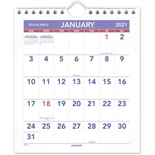 AAGPM528 - At-A-Glance Mini Wall/Desk Monthly Calendar