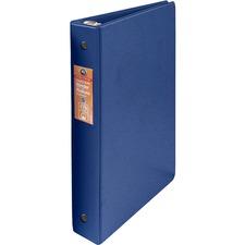 "Wilson Jones ENVI Heavy-duty Round Ring Binder - 1"" Binder Capacity - Letter - 8 1/2"" x 11"" Sheet Size - 175 Sheet Capacity - 3 x Round Ring Fastener(s) - Internal Pocket(s) - Suede Vinyl, Chipboard, Polypropylene - Dark Blue - Heavy Duty, Gap-free Ring, Latex-free, Open and Closed Triggers, PVC-free, Label Holder, Flat - 1 Each"