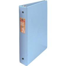 "Wilson Jones ENVI Heavy-duty Round Ring Binder - 1"" Binder Capacity - Letter - 8 1/2"" x 11"" Sheet Size - 175 Sheet Capacity - 3 x Round Ring Fastener(s) - Internal Pocket(s) - Suede Vinyl, Polypropylene, Chipboard - Light Blue - Heavy Duty, Gap-free Ring, Latex-free, Open and Closed Triggers, PVC-free, Label Holder, Flat - 1 Each"