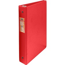 """Wilson Jones ENVI Heavy-duty Round Ring Binder - 1"""" Binder Capacity - Letter - 8 1/2"""" x 11"""" Sheet Size - 175 Sheet Capacity - 3 x Round Ring Fastener(s) - Internal Pocket(s) - Suede Vinyl, Polypropylene, Chipboard - Red - Heavy Duty, Gap-free Ring, Latex-free, Open and Closed Triggers, PVC-free, Label Holder, Flat - 1 Each"""