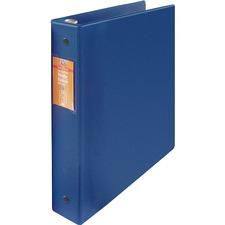 "Wilson Jones ENVI Heavy-duty Round Ring Binder - 1 1/2"" Binder Capacity - Letter - 8 1/2"" x 11"" Sheet Size - 280 Sheet Capacity - 3 x Round Ring Fastener(s) - Internal Pocket(s) - Suede Vinyl, Polypropylene, Chipboard - Dark Blue - Heavy Duty, Gap-free Ring, Open and Closed Triggers, Label Holder, Flat, PVC-free, Latex-free - 1 Each"
