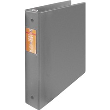 "Wilson Jones ENVI Heavy-duty Round Ring Binder - 1 1/2"" Binder Capacity - Letter - 8 1/2"" x 11"" Sheet Size - 280 Sheet Capacity - 3 x Round Ring Fastener(s) - Internal Pocket(s) - Suede Vinyl, Chipboard, Polypropylene - Gray - Heavy Duty, Gap-free Ring, Open and Closed Triggers, Label Holder, Flat, PVC-free, Latex-free - 1 Each"