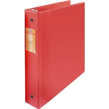 """Wilson Jones ENVI Heavy-duty Round Ring Binder - 1 1/2"""" Binder Capacity - Letter - 8 1/2"""" x 11"""" Sheet Size - 280 Sheet Capacity - 3 x Round Ring Fastener(s) - Internal Pocket(s) - Suede Vinyl, Polypropylene, Chipboard - Red - Heavy Duty, Gap-free Ring, Open and Closed Triggers, Label Holder, Flat, PVC-free, Latex-free - 1 Each"""