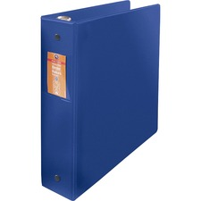 "Wilson Jones ENVI Heavy-duty Round Ring Binder - 2"" Binder Capacity - Letter - 8 1/2"" x 11"" Sheet Size - Round Ring Fastener(s) - 2 Internal Pocket(s) - Suede Vinyl, Polypropylene, Chipboard - Dark Blue - Heavy Duty, Gap-free Ring, PVC-free, Open and Closed Triggers, Label Holder, Flat, Durable, Latex-free - 1 Each"