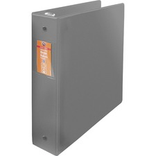 """Wilson Jones ENVI Heavy-duty Round Ring Binder - 2"""" Binder Capacity - Letter - 8 1/2"""" x 11"""" Sheet Size - 375 Sheet Capacity - 3 x Round Ring Fastener(s) - 2 Internal Pocket(s) - Suede Vinyl, Polypropylene, Chipboard - Gray - Heavy Duty, Gap-free Ring, PVC-free, Open and Closed Triggers, Label Holder, Flat, Durable, Latex-free - 1 Each"""