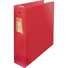 "Wilson Jones ENVI Heavy-duty Round Ring Binder - 2"" Binder Capacity - Letter - 8 1/2"" x 11"" Sheet Size - 375 Sheet Capacity - 3 x Round Ring Fastener(s) - 2 Internal Pocket(s) - Suede Vinyl, Polypropylene, Chipboard - Red - Heavy Duty, Gap-free Ring, PVC-free, Open and Closed Triggers, Label Holder, Flat, Durable, Latex-free - 1 Each"