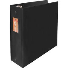 "Wilson Jones ENVI Heavy-duty Round Ring Binder - 3"" Binder Capacity - Letter - 8 1/2"" x 11"" Sheet Size - 480 Sheet Capacity - 3 x Round Ring Fastener(s) - 2 Internal Pocket(s) - Suede Vinyl, Polypropylene, Chipboard - Black - Heavy Duty, Gap-free Ring, PVC-free, Open and Closed Triggers, Label Holder, Flat, Latex-free - 1 Each"