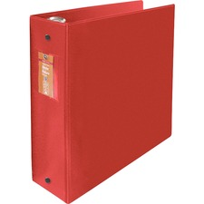 "Wilson Jones ENVI Heavy-duty Round Ring Binder - 3"" Binder Capacity - Letter - 8 1/2"" x 11"" Sheet Size - 480 Sheet Capacity - 3 x Round Ring Fastener(s) - 2 Internal Pocket(s) - Suede Vinyl, Polypropylene, Chipboard - Red - Heavy Duty, Open and Closed Triggers, Gap-free Ring, Latex-free, PVC-free, Label Holder - 1 Each"