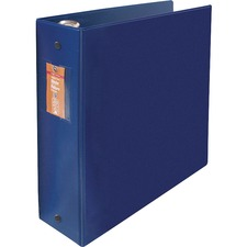 "Wilson Jones ENVI Heavy-duty Round Ring Binder - 3"" Binder Capacity - Letter - 8 1/2"" x 11"" Sheet Size - 480 Sheet Capacity - 3 x Round Ring Fastener(s) - 2 Internal Pocket(s) - Suede Vinyl, Polypropylene, Chipboard - Dark Blue - Heavy Duty, Open and Closed Triggers, Gap-free Ring, Latex-free, PVC-free, Label Holder - 1 Each"