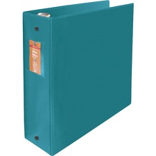"Wilson Jones ENVI Heavy-duty Round Ring Binder - 3"" Binder Capacity - Letter - 8 1/2"" x 11"" Sheet Size - 480 Sheet Capacity - 3 x Round Ring Fastener(s) - 2 Internal Pocket(s) - Suede Vinyl, Polypropylene, Chipboard - Green - Heavy Duty, Open and Closed Triggers, Gap-free Ring, Latex-free, PVC-free, Label Holder - 1 Each"