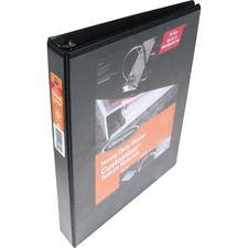 """Wilson Jones ENVI Heavy-duty Customizer D-ring View Binder - 1"""" Binder Capacity - 220 Sheet Capacity - D-Ring Fastener(s) - Front & Back Pocket(s) - Polypropylene, Chipboard - Black - Spine Label, Smudge Resistant, Non-glare, Gap-free Ring, PVC-free, Heavy Duty, Non-stick, Durable - 1 Each"""