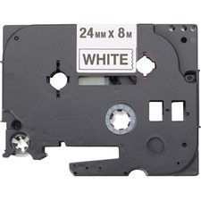 """Brother Black on White Label Tape - 15/16"""" Width - Thermal Transfer - White, Black - Polyester - 5 / Pack"""