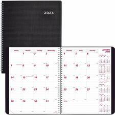 RED CB1262VBLK Rediform DuraFlex Cover Monthly Planner REDCB1262VBLK