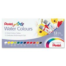 Pentel Arts Water Colors, Set of 12 - 5 mL - 12 / Set - White, Prussian Blue, Yellow, Red, Lemon Yellow, Yellow Green, Brown, Viridian, Yellow Ochre, Cobalt Blue, Black, ...