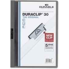 "DURABLE DURACLIP Letter Report Cover - 8 1/2"" x 11"" - 30 Sheet Capacity - Vinyl - Graphite, Clear - 1 Each"