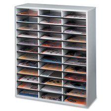 """Fellowes Litrature Organizer - 36 Compartment, Letter, Dove Gray - 36 Compartment(s) - Compartment Size 2.50"""" (63.50 mm) x 9"""" (228.60 mm) x 11.63"""" (295.27 mm) - 34.7"""" Height x 29"""" Width x 11.9"""" Depth - Corrugated - Dove Gray - Wood - 1 Each"""