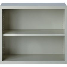 "Lorell Fortress Series Bookcases - 34.5"" x 13"" x 30"" - 2 x Shelf(ves) - Light Gray - Powder Coated - Steel - Recycled"