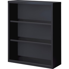 "Lorell Fortress Series Bookcases - 34.5"" x 13"" x 42"" - 3 x Shelf(ves) - Black - Powder Coated - Steel - Recycled"