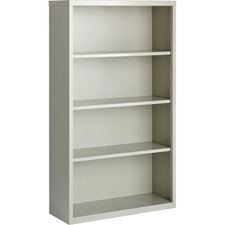 "Lorell Fortress Series Bookcases - 34.5"" x 13"" x 60"" - 4 x Shelf(ves) - Light Gray - Powder Coated - Steel - Recycled"