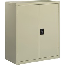 "Lorell Fortress Series Storage Cabinets - 18"" x 36"" x 42"" - 3 x Shelf(ves) - Recessed Locking Handle, Hinged Door, Durable, Adjustable Shelf - Putty - Powder Coated - Steel - Recycled"