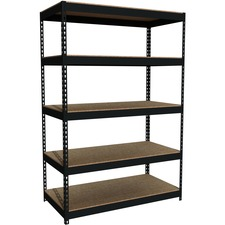 "Lorell Riveted Steel Shelving - 72"" Height x 48"" Width x 24"" Depth - Rust Resistant - 28% - Black - Steel - 1 Each"