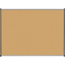 "Lorell Satin Finish Trim Natural Cork Board - 48"" (1219.20 mm) Height x 36"" (914.40 mm) Width - Natural Cork Surface - Durable, Self-healing - Silver Anodized Aluminum Frame - 1 Each"