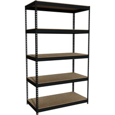 "Lorell Riveted Steel Shelving - 5 Compartment(s) - 84"" Height x 48"" Width x 24"" Depth - Heavy Duty, Rust Resistant - 28% - Black - Steel - 1 Each"