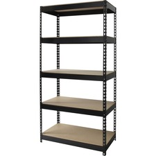 "Lorell Riveted Steel Shelving - 5 Compartment(s) - 72"" Height x 36"" Width x 16"" Depth - Rust Resistant, Heavy Duty - 28% - Black - Steel - 1 Each"