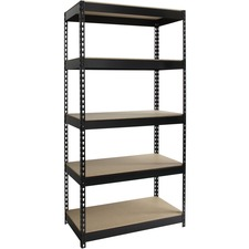 "Lorell Riveted Steel Shelving - 5 Compartment(s) - 72"" Height x 36"" Width x 18"" Depth - Heavy Duty, Rust Resistant - 28% - Black - Steel - 1 Each"