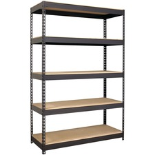 "Lorell Riveted Steel Shelving - 5 Compartment(s) - 72"" Height x 48"" Width x 18"" Depth - Heavy Duty, Rust Resistant - 28% - Black - Steel - 1 Each"