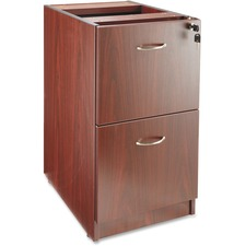 "Lorell Essentials Hanging Fixed Pedestal - 15.5"" x 21.9"" x 28.3"" - 2 x File Drawer(s) - Material: Polyvinyl Chloride (PVC) Edge, Metal Pull - Finish: Laminate, Mahogany, Silver Pull"