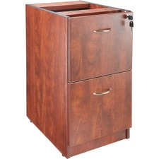 "Lorell Essentials Hanging Fixed Pedestal - 2-Drawer - 15.5"" x 21.9"" x 28.3"" - 2 x File Drawer(s) - Material: Polyvinyl Chloride (PVC) Edge, Metal Pull - Finish: Cherry, Laminate, Silver Pull"