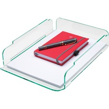 Lorell Single Stacking Letter Tray - Desktop - Durable, Lightweight, Non-skid, Stackable - Clear, Green - Acrylic