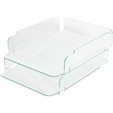 Lorell Stacking Letter Trays - Desktop - Durable, Lightweight, Non-skid, Stackable - Clear, Green - Acrylic