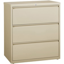 """Lorell 3-Drawer Putty Lateral Files - 36"""" x 18.6"""" x 40.3"""" - 3 x Drawer(s) for File - Letter, Legal, A4 - Lateral - Locking Drawer, Magnetic Label Holder, Ball-bearing Suspension, Leveling Glide - Putty - Steel - Recycled"""