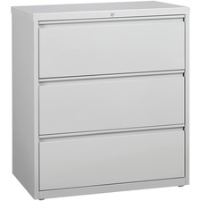 """Lorell 3-Drawer Light Gray Lateral Files - 36"""" x 18.6"""" x 40.3"""" - 3 x Drawer(s) for File - Letter, Legal, A4 - Lateral - Locking Drawer, Magnetic Label Holder, Ball-bearing Suspension, Leveling Glide, Locking Bar - Light Gray - Steel - Recycled"""