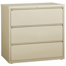 """Lorell 3-Drawer Putty Lateral Files - 42"""" x 18.6"""" x 40.3"""" - 3 x Drawer(s) for File - Letter, Legal, A4 - Lateral - Locking Drawer, Magnetic Label Holder, Ball-bearing Suspension, Leveling Glide - Putty - Steel - Recycled"""