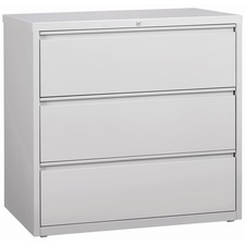 """Lorell 3-Drawer Light Gray Lateral Files - 42"""" x 18.6"""" x 40.3"""" - 3 x Drawer(s) for File - Letter, Legal, A4 - Lateral - Locking Drawer, Magnetic Label Holder, Ball-bearing Suspension, Leveling Glide - Light Gray - Steel - Recycled"""