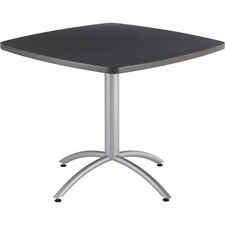 """Iceberg CafeWorks 36"""" Square Cafe Table - Melamine Square Top - Powder Coated Base x 1.1"""" Table Top Thickness - 30"""" Height x 36"""" Width x 36"""" Depth - Assembly Required - Graphite"""