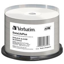 Verbatim DVD+R DL 8.5GB 8X DataLifePlus White Thermal Printable, Hub Printable - 50pk Spindle